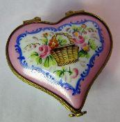 Limoges porcelain heart box with flower basket design.