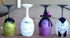 Halloween Wine Glasses (Candle Holders)
