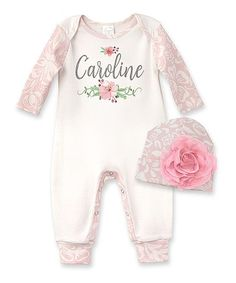 Love this Ivory & Blush Floral Personalized Playsuit & Beanie - Infant on #zulily! #zulilyfinds
