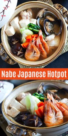 Nabe or nabemono is Japanese hot pot. This is a classic Yosenabe recipe made of chicken, seafood, tofu, vegetables in dashi broth. Asian Seafood Recipe, Seafood Recipes, Asian Recipes, Cooking Recipes, Ethnic Recipes, Asian Foods, Cooking Tips, Chicken Recipes, Most Delicious Recipe