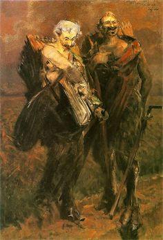 Leon Wyczółkowski i Ignacy Maciejowski-Sewer jako fauny  1887. Olej na płótnie. 140 x 70 cm.   Muzeum Narodowe w Krakowie.