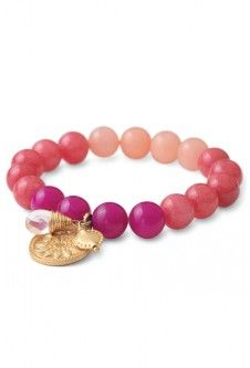 Dyed jade beads with pink gradients.