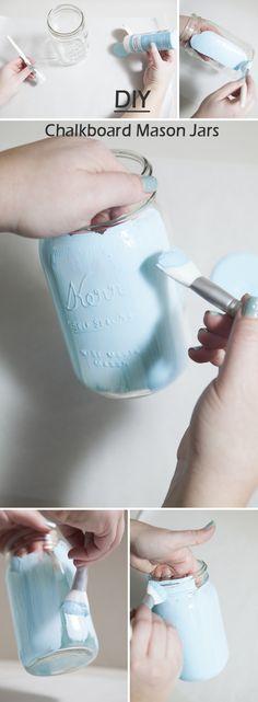 diy distressed chalkboard mason jars for rustic themed wedding ideas