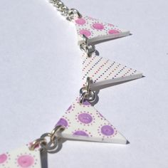 Bunting necklace made from shrink plastic, available now from my Folksy shop priced at £10.00