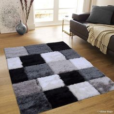 Millwood Pines Breene Hand-Tufted Black/White Area Rug Rug Size: x Shag Carpet, Diy Carpet, Rugs On Carpet, Carpets, Area Rug Sizes, Area Rugs, Tapetes Diy, High Pile Rug, Rug Size Guide
