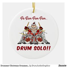 "This funny drumming Christmas ornament features Santa on a massive drum kit, with caption ""Pa Rum Pum Pum... DRUM SOLO!!"" What a great gift for musicians, music fans and drum enthusiasts! Check out www.drumjunkiegraphics.com for more great drummer merch and musician gifts - all designed by a drummer! #drummerchristmas #musicianchristmas #drummersanta #drumjunkie"