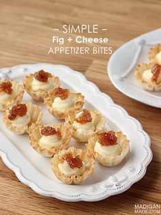 Simple fig preserves and cheese appetizer bites in mini phyllo cups