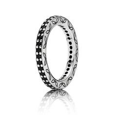 PANDORA eternity ring with black crystals. Perfect to add a bit of black to your Halloween outfit. $135 #PANDORAring