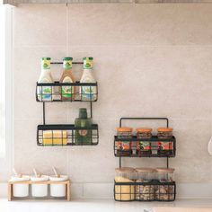 OTHERHOUSE Iron Wall Mounted Storage Shelf Double Layer Rack Spices Condiments Holder Kitchen Organizer Bathroom Storage Shelves – Top Daily Trends