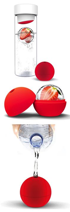 Ice Ball Flavor-It Bottle -- infuse water with fresh fruit in ice