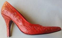 Cowboys and Indians March 2012 Cock of the Walk Cowgirl Style, Cowgirl Boots, Leather Tooling, Tooled Leather, Red Leather, Cowboys And Indians, Shoe Carnival, Walk This Way, Me Too Shoes