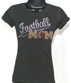 775d77b12547 ON SALE - Football Mom Athletic Tail Rhinestone Bling T-shirt (Size Fitted  MED
