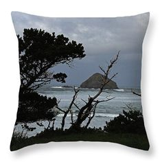"The Oregon Coast Behind The Trees Throw Pillow by Tom Janca.  Our throw pillows are made from 100% spun polyester poplin fabric and add a stylish statement to any room.  Pillows are available in sizes from 14"" x 14"" up to 26"" x 26"".  Each pillow is printed on both sides (same image) and includes a concealed zipper and removable insert (if selected) for easy cleaning."