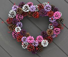 Multi Coloured Pinecone Rustic Heart Shaped by TheTangledTreehouse, $40.00 Would be great to have for Valentine's Day or Sweetest Day!