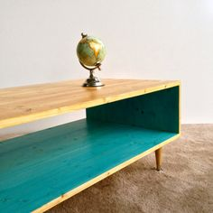 Handmade Mid Century Modern Turquoise (or custom color) and Summer Blonde Coffee Table MCM Furniture