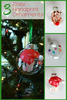 Three easy handprint ornaments to make with your kids this Christmas! This craft would make a great gift for parents and grandparents! Grandparents Christmas Gifts, Easy Christmas Ornaments, Christmas Crafts For Kids To Make, Preschool Christmas, Homemade Christmas Gifts, Holiday Crafts, Christmas Diy, Summer Crafts, Kids Crafts