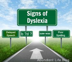 Signs of Dyslexia, listing from pre-school through adolescence and adulthood.