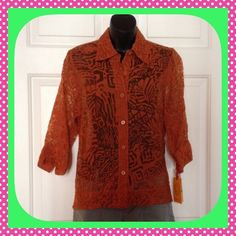 Rust colored super shear blouse Brand new- buttons up front Ruby Rd. Petite Tops Blouses