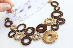 Textile Necklace. Unique Cream and Brown Textile by PetalsDesignAU