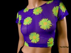 Vtg 90s Daisy Mesh Sheer Neon Flower Power Rad by Buynowthinklater
