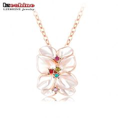 LZESHINE Newest Pendants & Necklaces 18K Rose Gold Plated with Austrian Cystals Flower Shape Enamel Necklace for Women NL0001-A