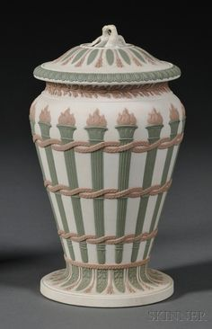 Wedgwood Three-color Jasper Torches Vase and Cover, England, 19th century