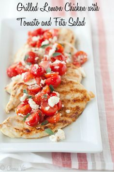 Grilled Lemon Chicken with Tomato and Feta Salad, is an easy grilled chicken dinner you can make in about 30 minutes.