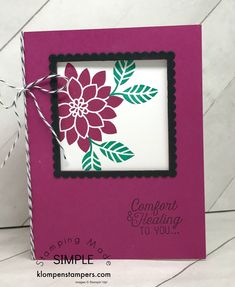 Easy instructions for making a Window Card using Stampin' Up! Flourishing Phrases stamp set. Directions on klompenstampers.com