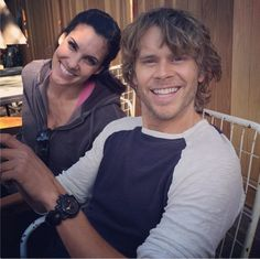 Kensi and Deeks being adorable on the set of NCIS: Los Angeles.