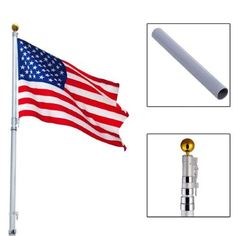 20ft Aluminum (Silver) Telescoping Flagpole w/ 1 US America Flag Kit Outdoor Gold Ball