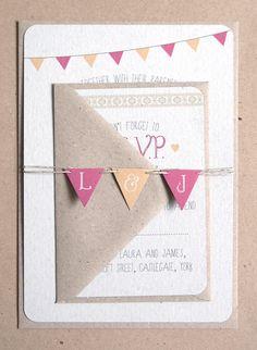 Summer Fair Cute Bunting Wedding Invitation by STNstationery, £2.00