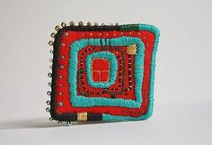 Brooch with Hundertwasser motives. I love Hundertwasser arts and I am pretty much inspired by his works. Those brooches are embroidered. Each brooch is handmade and ooak. Textile Jewelry, Fabric Jewelry, Textile Art, Jewelry Art, Jewellery, Fabric Brooch, Felt Brooch, Embroidery Art, Embroidery Stitches