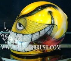 Custom Airbrushed Evil Smiley Motorcycle helmet by REKAIRBRUSH