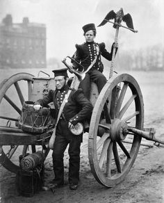 Soldiers of the British Army during the Crimean War. and Trumpeter W., Royal Artillery holding an Imperial Russian eagle flagstaff, which was brought.