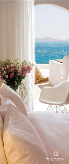 Sea views from a chic suite at the Grace Mykonos Hotel