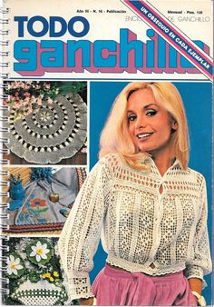 Vintage TODO Ganchillo Spanish Crochet book doily filet lampshades home decor 16
