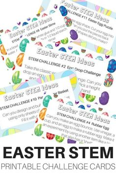 Easter STEM challenge cards free printable for Easter kids activities. Easter STEM activities and Easter science experiments to do with kids this spring.