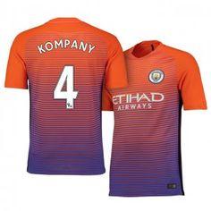 Manchester City FC Third 16-17 Season Orange #4 Kompany Soccer Jersey [I464]