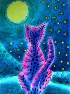 Vollmondkatze von Schwarzweiß und farbenfroh auf DaWanda.com