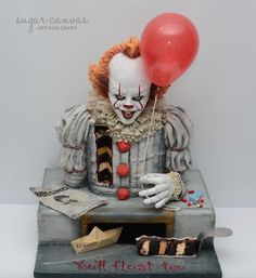Pennywise the dancing clown cake! - cake by Sugar Canvas- Pennywise the dancing clown cake! – cake by Sugar Canvas Pennywise the dancing clown cake! – cake by Sugar Canvas - Crazy Cakes, Fancy Cakes, Cute Cakes, Unique Cakes, Creative Cakes, Cupcake Original, Bolo Halloween, Scary Halloween Cakes, Halloween Ideas