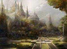 40 Ideas fantasy art city forests for 2019 Fantasy Magic, Fantasy City, Fantasy Castle, Fantasy Kunst, Fantasy Places, Fantasy World, Fantasy Forest, Dark Forest, Fantasy Concept Art