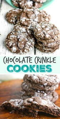 Chocolate Crinkle Cookies Recipe - These cookies are SO EASY to make, and taste like a combination of brownie and chocolate cake!