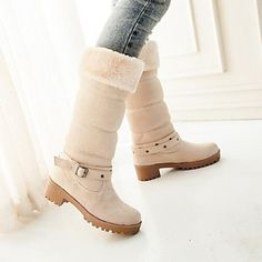 Women's Shoes Round Toe Chunky Heel Mid-Calf Boots with Buckle More Colors available – USD $ 27.89