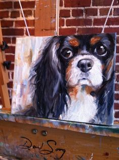 Mary Sparrow Smith from Hanging the Moon Studio Cavalier King Charles Spaniel custom pet Portrait #OilPaintingDog