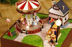 DIY Miniature Carnival Carrousel Dollhouse Kit Music by KoolKro