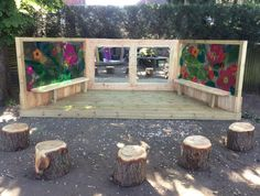 Our range of outdoor musical instruments and bespoke outdoor performance areas encourage cognitive, emotional and physical play. Outdoor Stage, Outdoor School, Outdoor Classroom, Outdoor Learning Spaces, Outdoor Education, Play Spaces, Playground Design, Playground Ideas, Preschool Playground