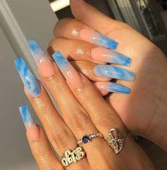 Blue Acrylic Nails, Acrylic Nails Coffin Short, Simple Acrylic Nails, Blue Nails, Acrylic Nail Designs, Simple Nails, Marble Nails, Pastel Nails, Blue Coffin Nails
