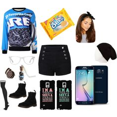 Oreo Heaven by sage-knight on Polyvore featuring Topshop, Dr. Martens, Muse, Samsung and Charlotte Russe