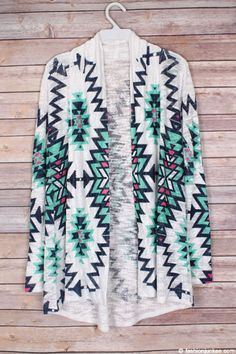 On-trend clothing, dresses, shoes & accessories at affordable prices! Tribal Print Cardigan, White P, Tribal Prints, Cloths, Cardigans, Kimono Top, Mint, Trending Outfits, Long Sleeve
