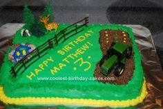 Homemade Farmyard and Tractor Birthday Cake